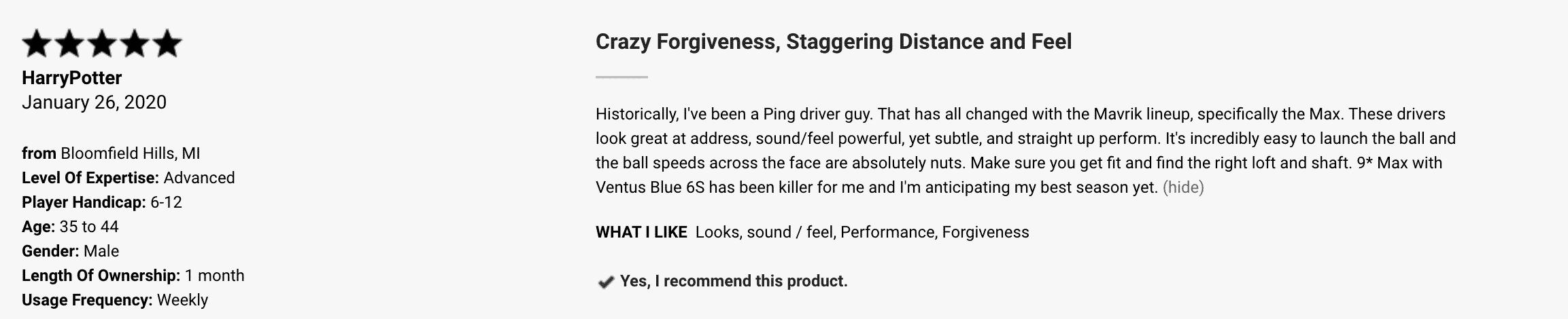 Callaway Mavrik Max Driver Customer Review