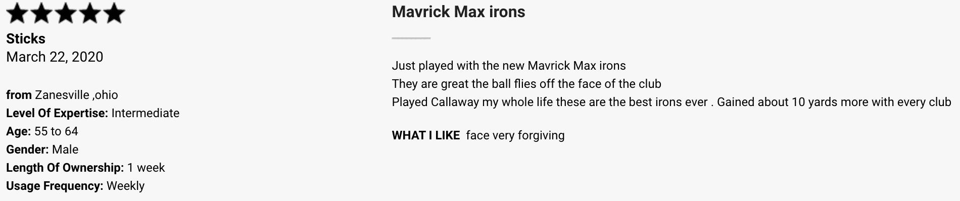 Callaway Mavrik Max Iron Customer Review