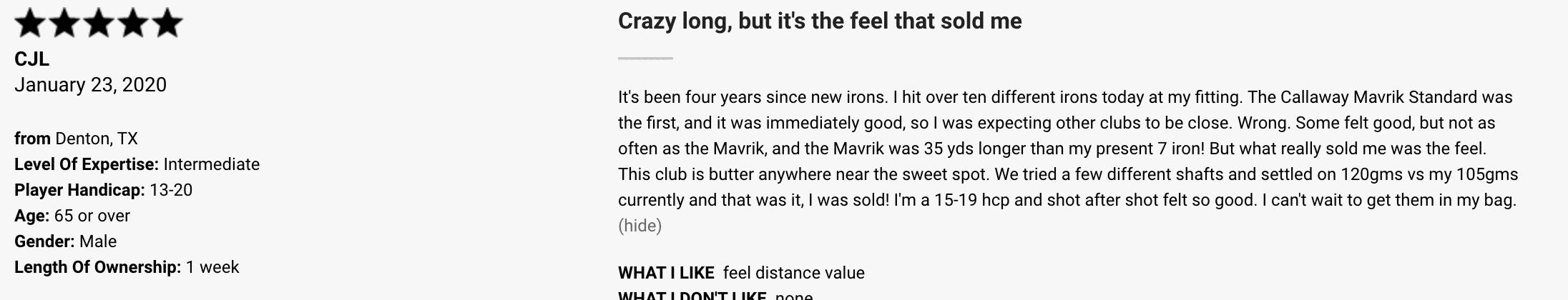 Mavrik iron customer review