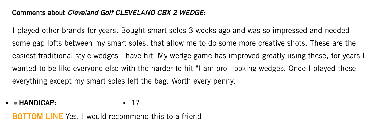 Cleveland CBX2 wedge customer review